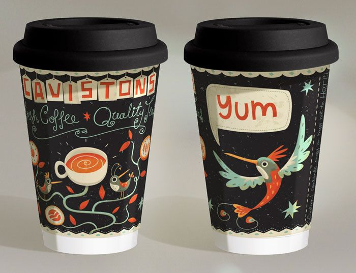 Take-away coffee cup for Cavistons of Glasthule in Dublin.   Designed and Illustrated by Steve Simpson