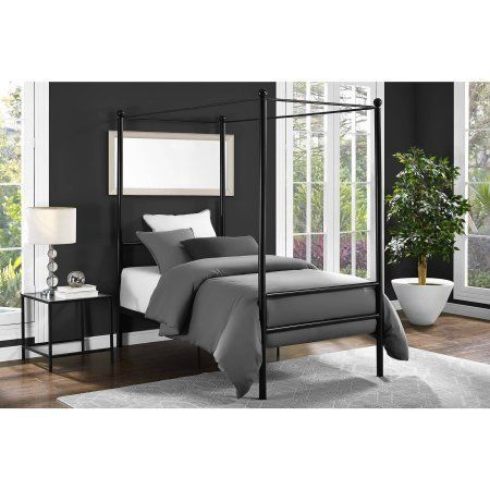 Mainstays Metal Canopy Bed , Twin, Multiple Colors, Black