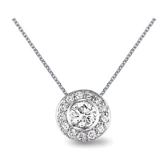 This stunning diamond pendant is classically modern with a center diamond surrounded by a sleek circle of smaller round diamonds. LJP610.1