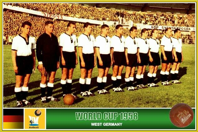 West Germany team line up at the 1958 World Cup Finals.