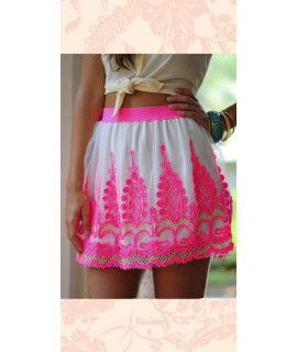 Delighting White And Pink Silk Skirt.
