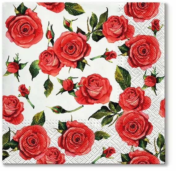 Parties Set of 4 napkins Paper Napkins for Decoupage flower bouquet