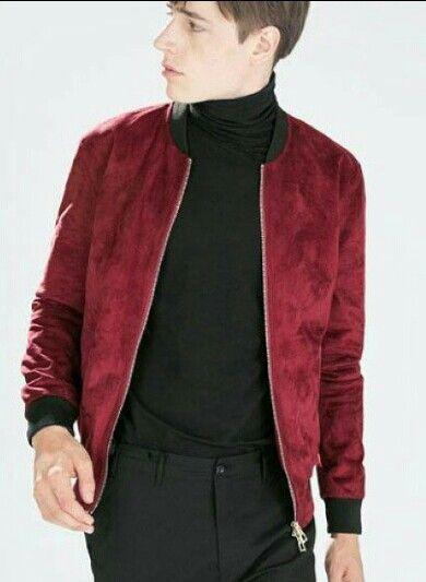 Zara red maroon bomber jacket