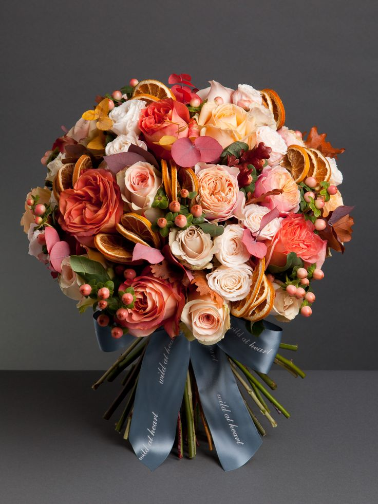 Thanksgiving Bouquet - This seasonal bouquet is perfect for Thanksgiving or a festive gift. Comprised of beautiful blush roses, hypericum berries, dried oranges and seasonal foliage. From £75 http://wildatheart.com