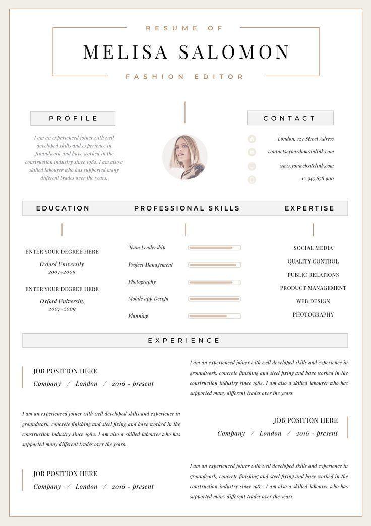 Professional Resume Template Clean Modern Resume Template One Page Resume Instant Download Resume Cv Template For Word Zurich Modele De Cv Moderne Modele Cv Cv Original