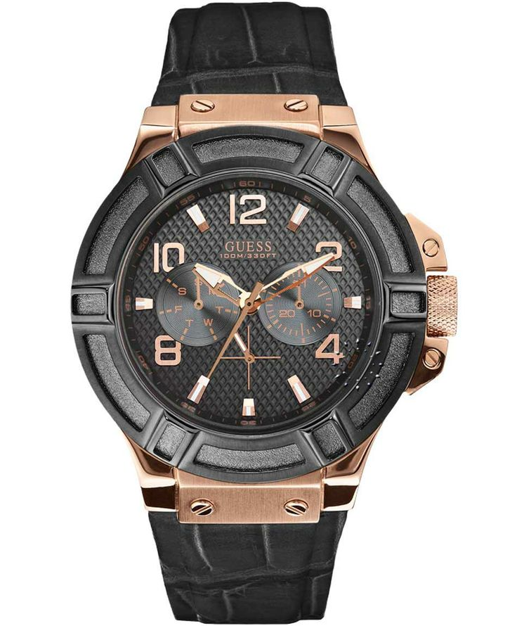 GUESS Rose Gold Case Black Leather Strap Μοντέλο: W0040G5 Η τιμή μας: 168€ http://www.oroloi.gr/product_info.php?products_id=36746
