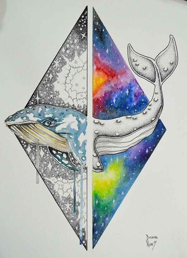 Whale in triangle galaxy drawing in coloured pencils