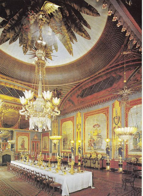Painting of the Interior of The Royal Pavilion, Brighton, East Sussex: The Banquet Hall