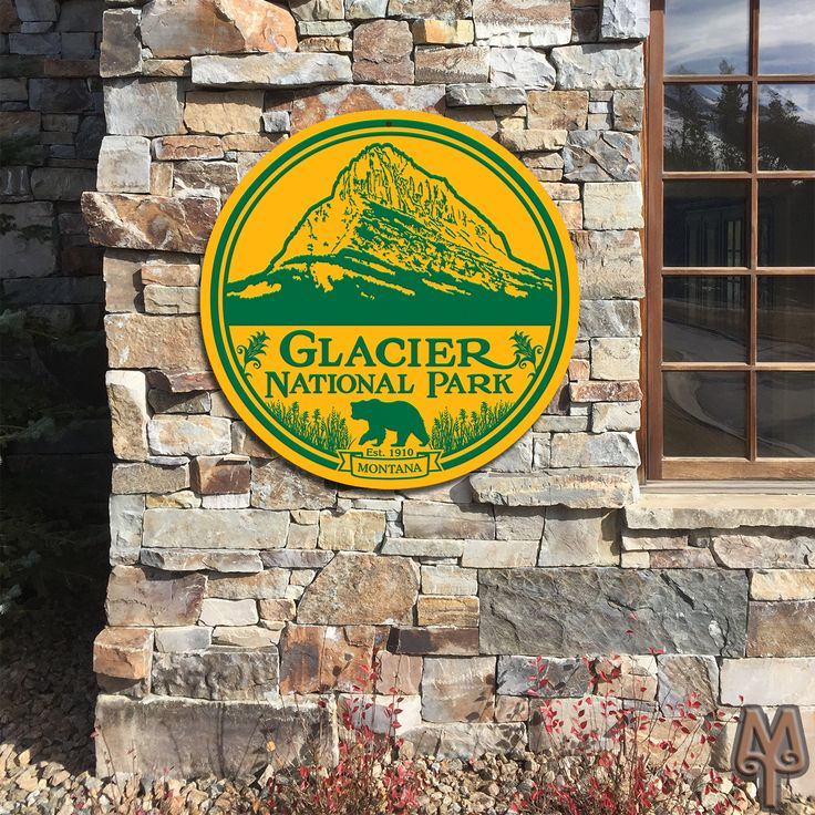 28 inch Glacier National Park Sign...Show your love for Montana's unique National Park. Display this new Montana Treasures wall sign on your home or cabin. New Wall signs come in other flavors too, including 36 inch and 42 inch diameters.