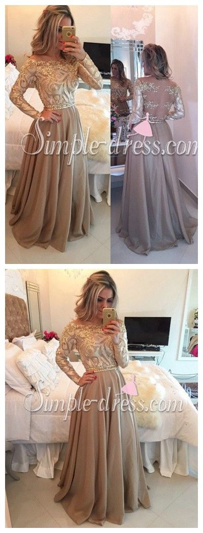 Prom dress,Prom dress 2016,Chiffon prom dress,Long prom dress,Gold prom dress,Appliques prom dress,Beaded prom dress