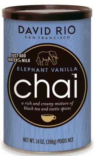 """Elephant Vanilla er en populær chai med samme ingredienser som Tiger Spice (kardemomme, nellik, kanel, ingefær og honning), men er tilsatt ekte Madagaskar bourbon vanilla. Gir 12-20 kopper deilig te. David Rio´s benytter seg av karakteristiske """"truede dyrearter"""" på sine produkter og donerer penger av hver eneste solgte boks med chai te til bla. International Fund for Animal Welfare (IFAW) Alle David Rio produktene er både glutenfrie og økologiske. De inneholder heller ing..."""