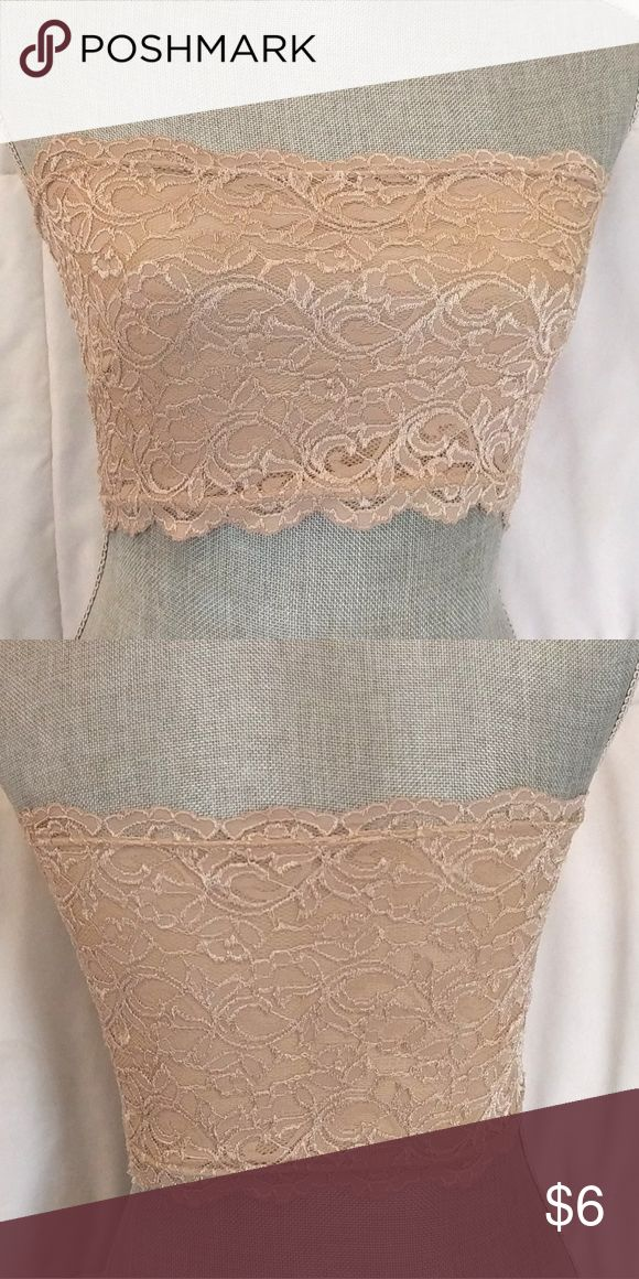 Nude Bandeau/Crop Top/Tube Top fully lined, strapless lace Bandeau Top Tops Crop Tops
