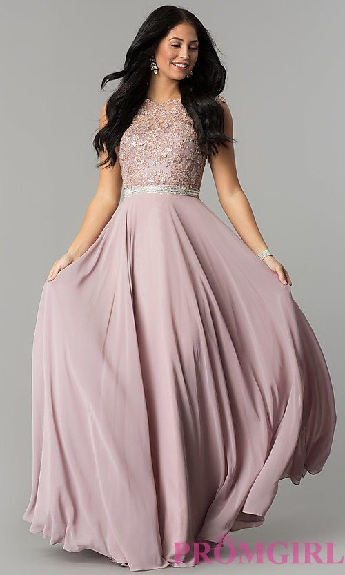 b7485d91f3 Image of long pastel prom dress with illusion-lace bodice. Style  DQ-9675  Detail Image 2