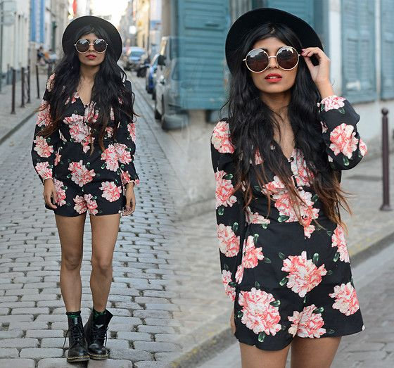 Missguided Spike Fedora Hat, Zerouv Circle Sunglasses, Miss Selfridge Floral Playsuit, Dr. Martens Dr Martens