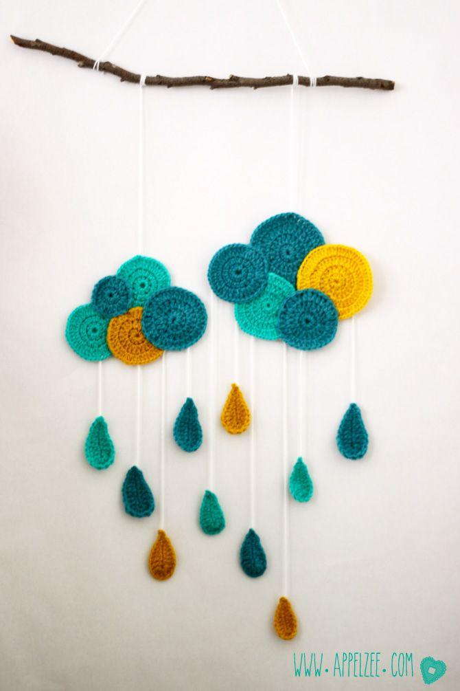 Nuage et pluie au crochet