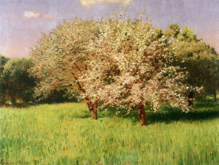 Pál Szinyei Merse (Hungarian, 1845-1920), Blooming Apple Trees, 1902. Oil on canvas, 50 x 65 cm.