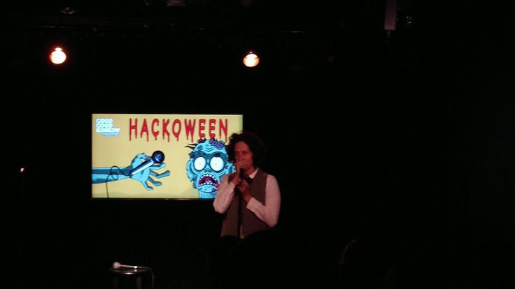Local Philadelphia comedian Betty J. Smithsonian imitates Paula Poundstone at Hackoween at Good Good Comedy Theater in downtown Philadelphia.