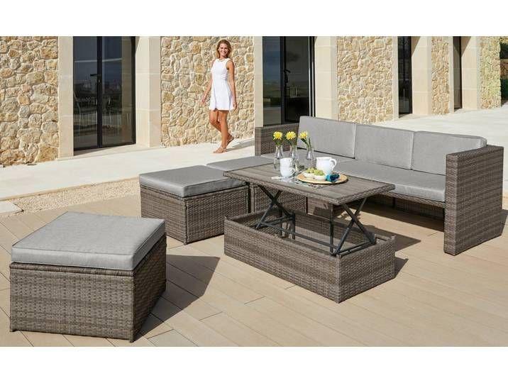 Konifera Loungeset Lagos Premium 13 Tlg 3er Sofa 3 Hocker Tisch Polyrattan Braun Braun 3er Sofa Lounge Mobel Tisch Hohenverstellbar