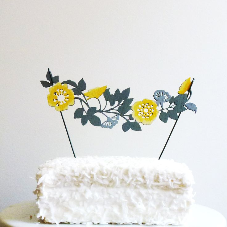 Hand Painted Flower Garland Cake Topper.