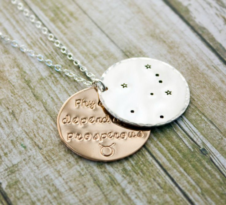 Taurus zodiac constellation necklace with traits. Silver and gold Taurus astrology necklace. Taurus constellation. Taurus birthday gift. RTS by ZennedOut on Etsy https://www.etsy.com/listing/170166906/taurus-zodiac-constellation-necklace