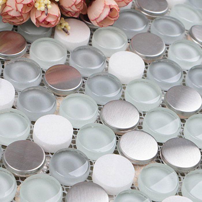 Round grey crystal glass mosaic tile penny metal tile white circle stone tile  E1039
