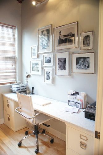 Office modern home office with Ikea Ribba Frame CollageInterior Design, Modern Home Offices, Offices Spaces, Interiors Design, File Cabinets, Frames Collage, Gallery Wall, Silver Frames, Modern Homes