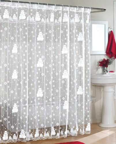 Snowman Lace Fabric Shower Curtain 70Wx72L-WHITE