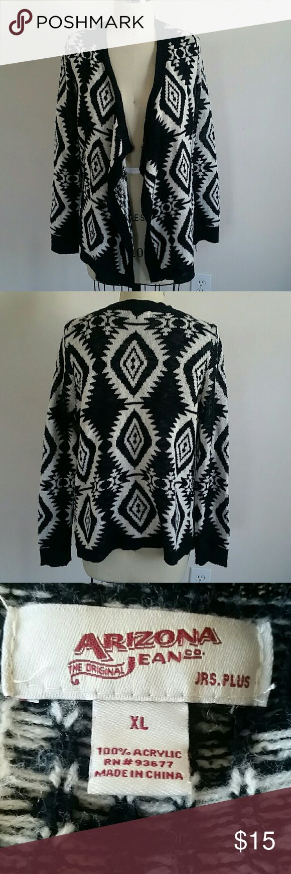 Tribal Print Cardigan NWOT Chic black and white tribal print cardigan! Super cute and great for cold weather! never been worn before so it is in great condition! Arizona Jean Company Sweaters Cardigans