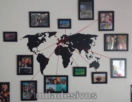 adesivo de parede mapa mundi com fitas vermelhas p/ quadros
