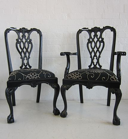 Formosa Chippendale Dining Chair & Carver Painted & Upholstered / Dutch Connection