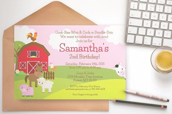Farm Birthday Party invitation pink by ThePaperOwl on @creativemarket