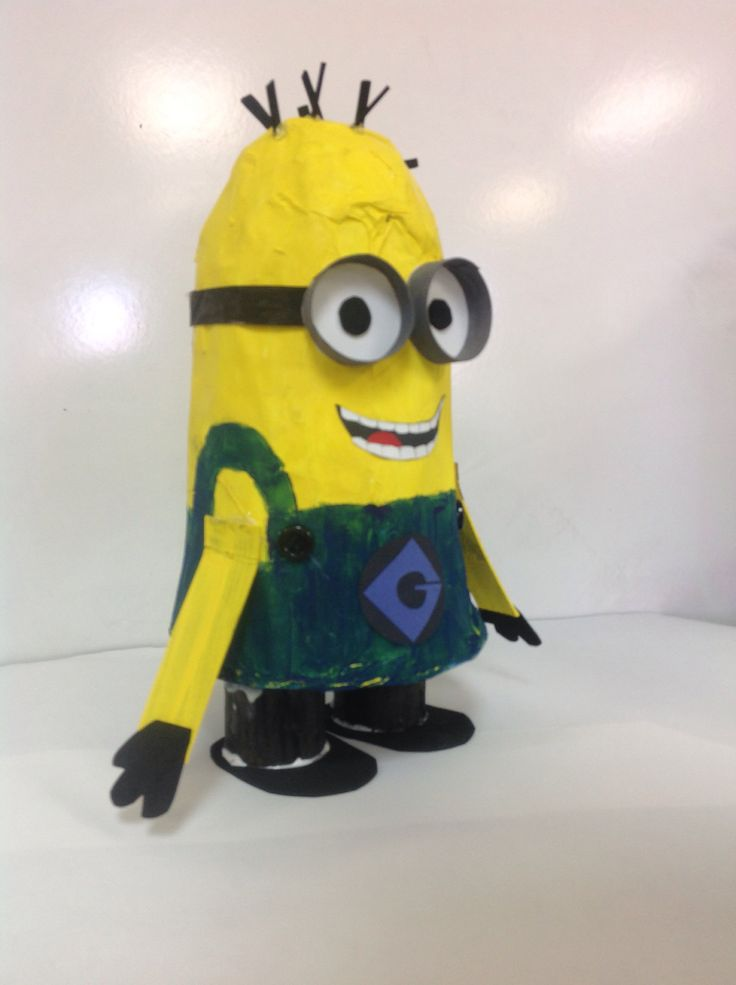 Paper Mâché Minions for Disney Week at summer camp. I had students k-8th make them, all different skill levels but all very cute and full of personality, they stand 10-13 inches tall. 2014