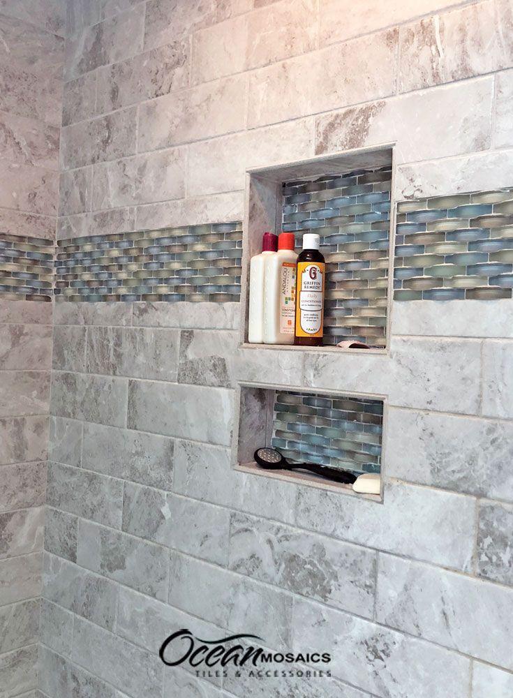 Curved Backsplash Bathroom Tile In Coastal Colors Ripple Spring