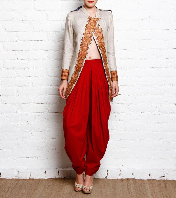 #Sleeveless Block Printed #Cotton #Jacket Top With #Georgette #Dhoti #Pants by #Nandita #Thirani at #Indianroots