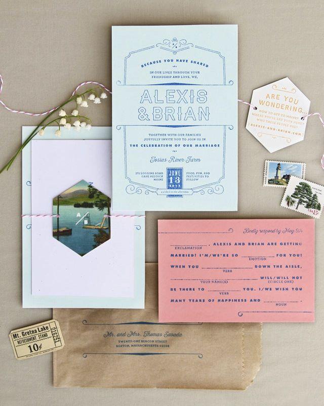 Rustic Moonrise Kingdom inspired Rubber Stamp Wedding Invitations