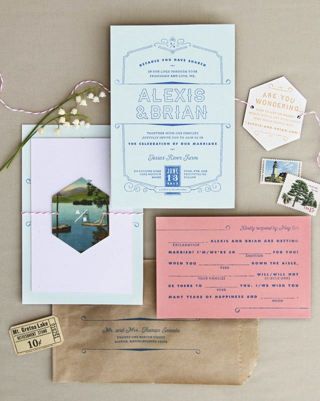 Rustic Moonrise Kingdom-inspired Rubber Stamp Wedding Invitations by Anticipate Invitations / Oh So Beautiful Paper