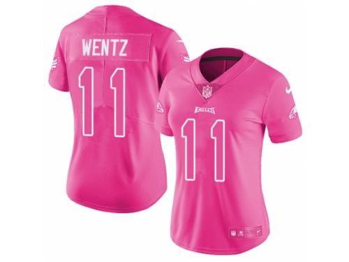 Women s Nike Philadelphia Eagles  11 Carson Wentz Limited Pink Rush Fashion  NFL Jersey e950517cc