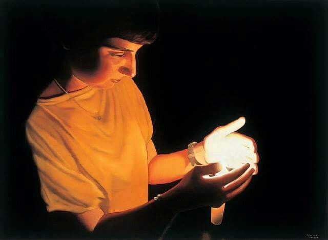 """László Fehér (Hungarian, b. 1953): Judit with Candle I, 2004. Oil on canvas, 160 x 220 cm.  © László Fehér. © This artwork may be protected by copyright. It is posted on the site in accordance with fair use principles.   Related, I Require Art blog: """"László Fehér: Interview"""" http://www.irequireart.com/blog/?p=1425"""