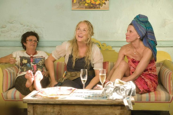 (L to R): JULIE WALTERS as Rosie Rice, MERYL STREEP as Donna Sheridan and…