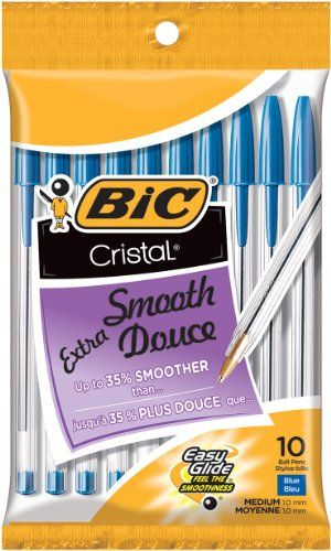 BIC Cristal Stic Ball Pen, Medium Point (1.0 mm), Blue, 10 Pens BIC http://www.amazon.com/dp/B0010O094W/ref=cm_sw_r_pi_dp_fK8bub1DE3W39
