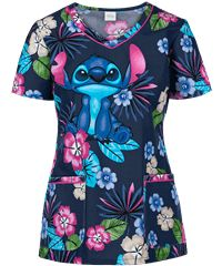 Cherokee Tooniforms Stitch Disney Print Scrub Top