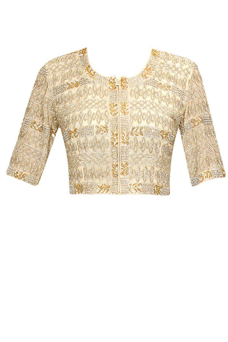 Cream hand-embroidered crop top by Malasa. Shop now: http://www.perniaspopupshop.com/designers/malasa #croptop #malasa #shopnow #perniaspopupshop