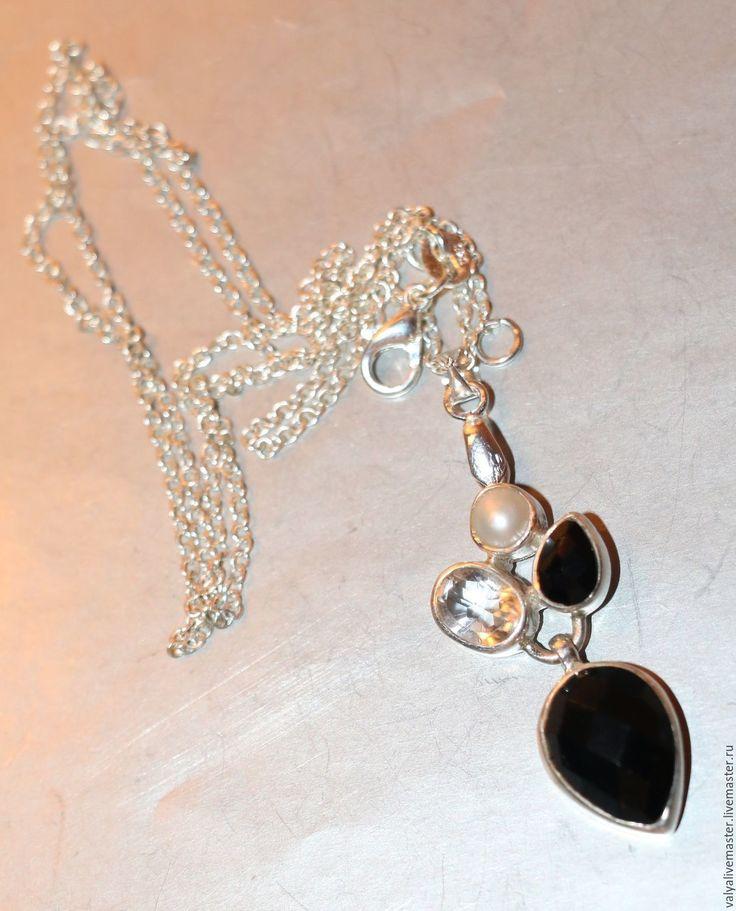 """Купить Кулон жемчуг-горный хрусталь, агат чёрный""""ТВОИ КАМНИ"""" - серебряный, подарок для девушки"""