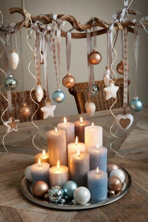 weihnachtliche bastelideen kerzen kugel tischdeko