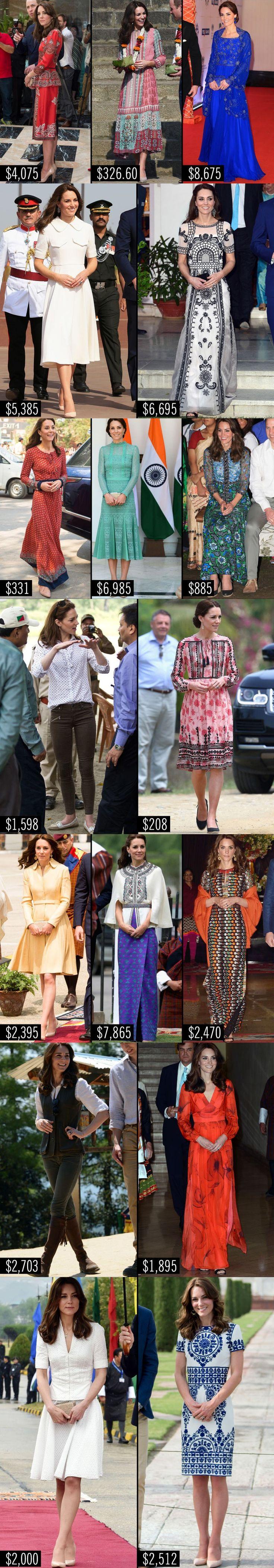Guarda-roupa de Kate Middleton para viagem à India custou mais de R$ 178 mil