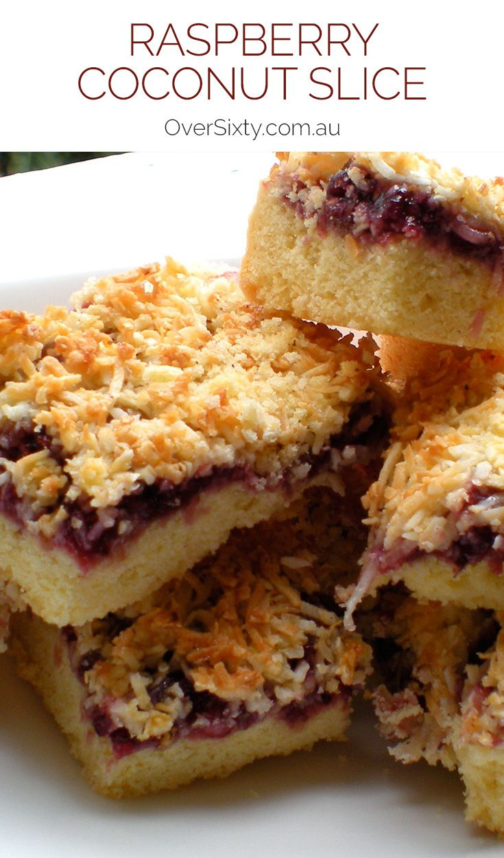 Raspberry Coconut Slice - a classic baked treat, this delicious slice won't last long in your cupboard. It's the perfect treat for any time of the day - morning tea, afternoon tea, dessert.