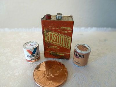 Miniature Gas Can Aged Looking and 2 Cans of Motor Oil nice items for a dollhouse garage or shed
