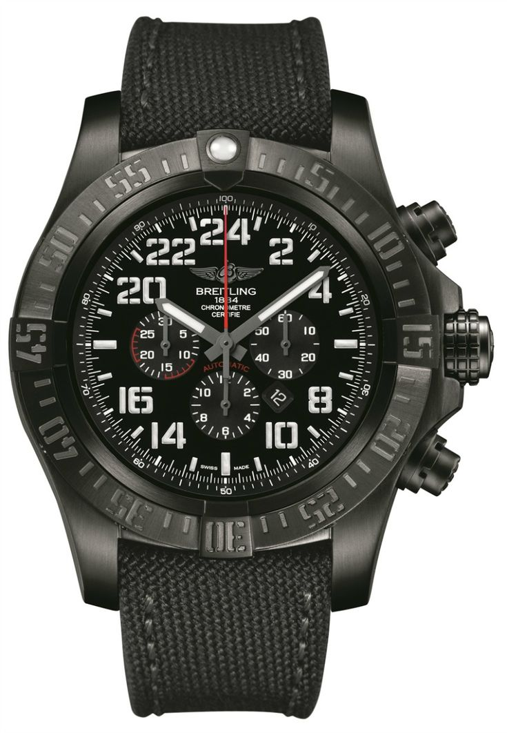 "Breitling Super Avenger Military Limited Series Watch With 24 Hour Time - All-black and delightfully ""mean,"" the Breitling Super Avenger Military is a rare example of a 24 hour watch..."