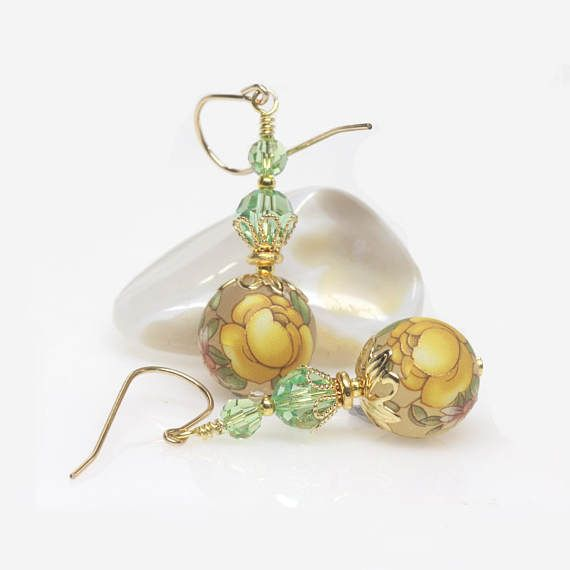 Yellow Floral Japanese Tensha Earrings Multicoloured Gold