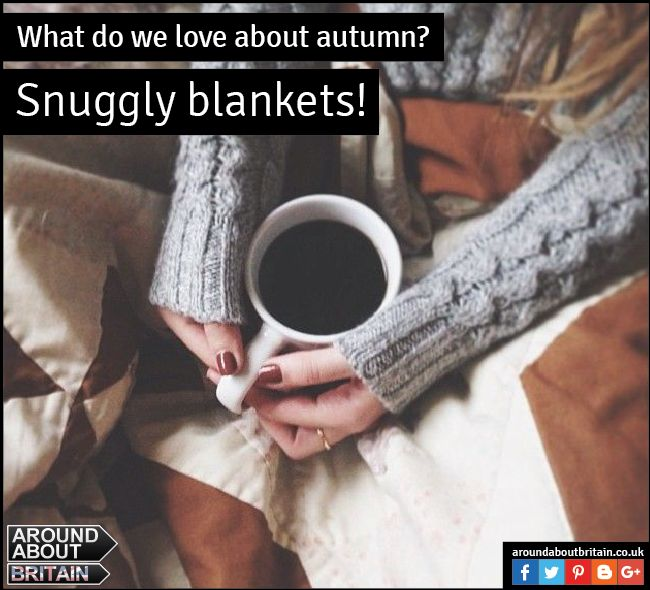 What do we love about Autumn? Snuggly blankets. Relax and sit back with a hot drink and a good book in a snuggly blanket. #SnugglyBlanket #Books #HotDrink #Autumn #Britain